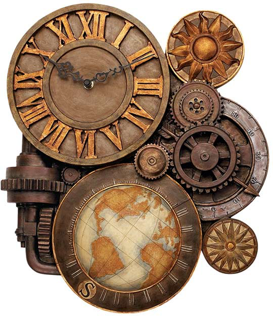 steampunk gears of time wall clock by roguevincent on. Black Bedroom Furniture Sets. Home Design Ideas