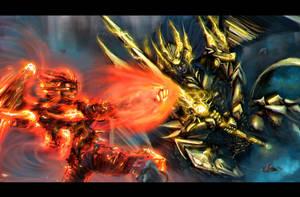 Godzilla vs. King Ghidorah but it's human form by Julian9x