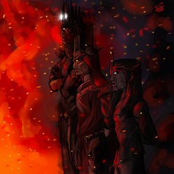 Take it all in. Melkor, Sauron and Thuringwethil by TheBabyDragons
