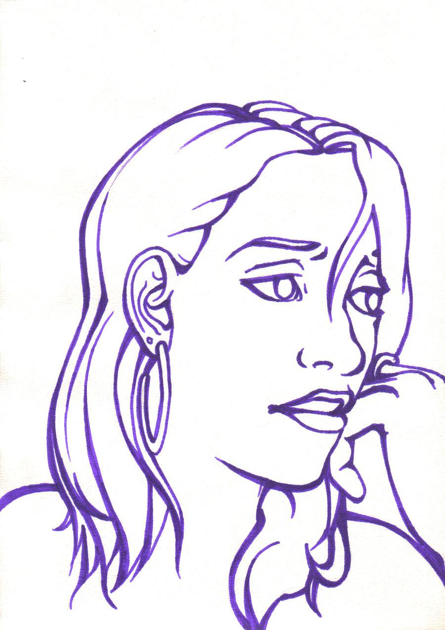 Contour Line Drawing Self Portrait : Contour lines self portrait by trytodenyit on deviantart