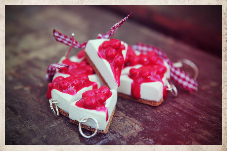 cheese cake cherry earrings by maryazzfire