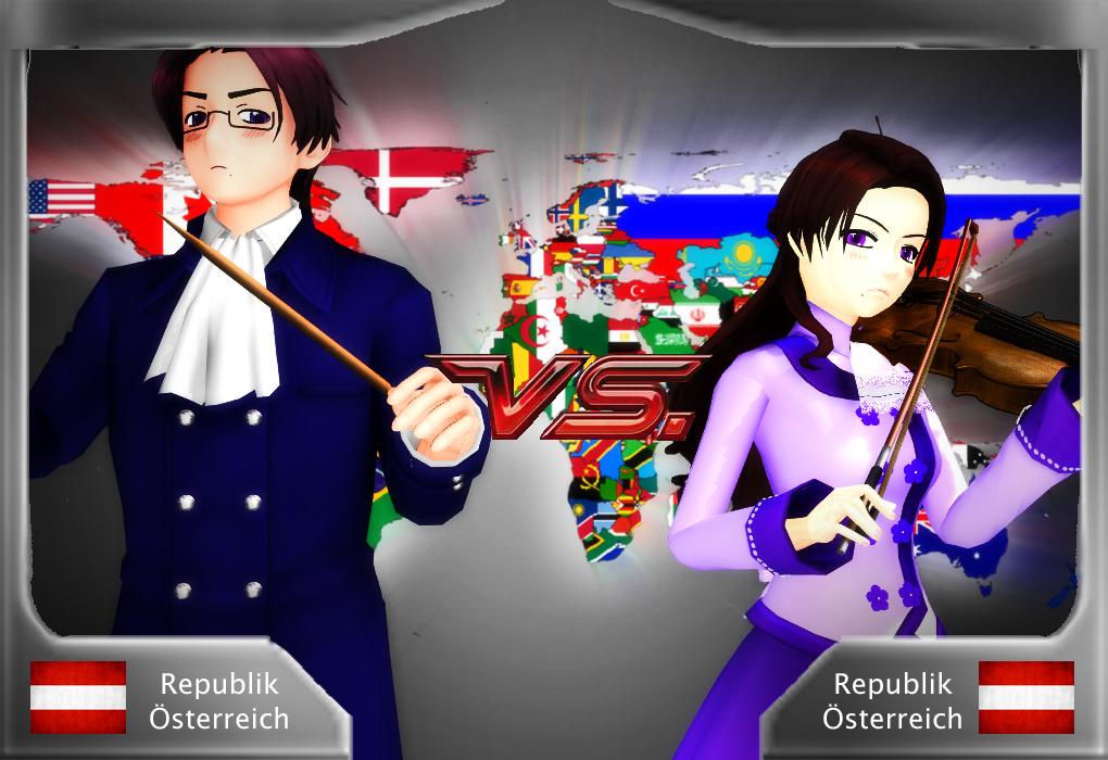 [MMDxAPH] - Austria VS Nyo!Austria by Hebigami-Okami-77