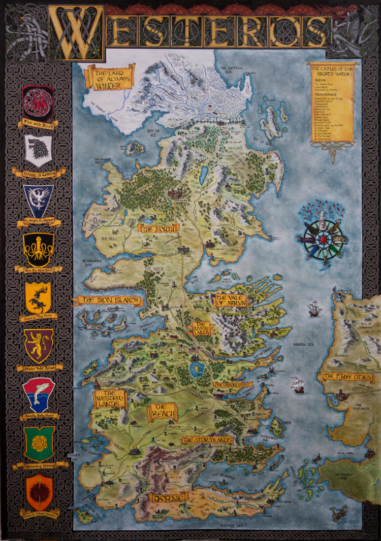 Hand-Drawn Westeros Map (Complete and finished map by Klaradox on ...