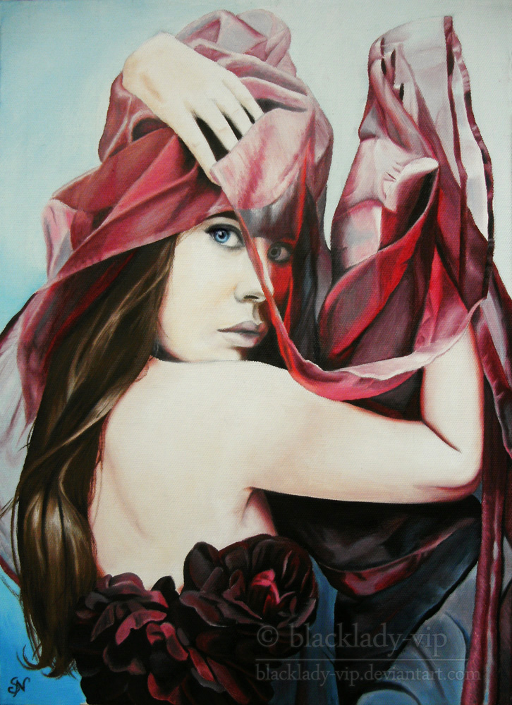 Red Scarf - Oil Painting by blacklady-vip