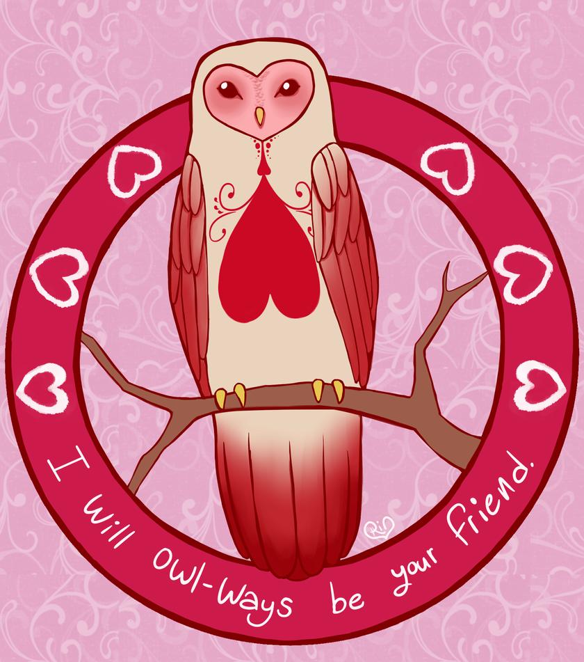 Owl Valentine by BladedCrow