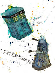 Doctor Who Watercolor by EvilWerewolfPirate