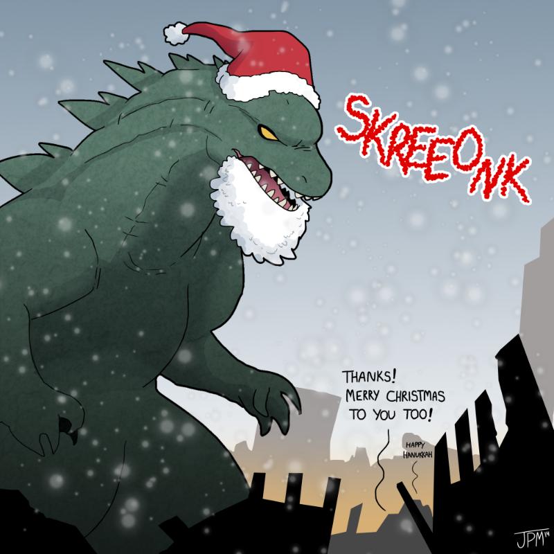Godzilla Christmas 2014 by jennyjams on DeviantArt