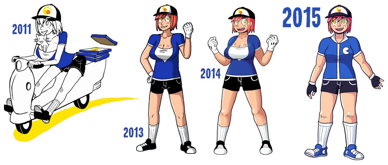 Character Design Evolution : Pizza girl year character design evolution by
