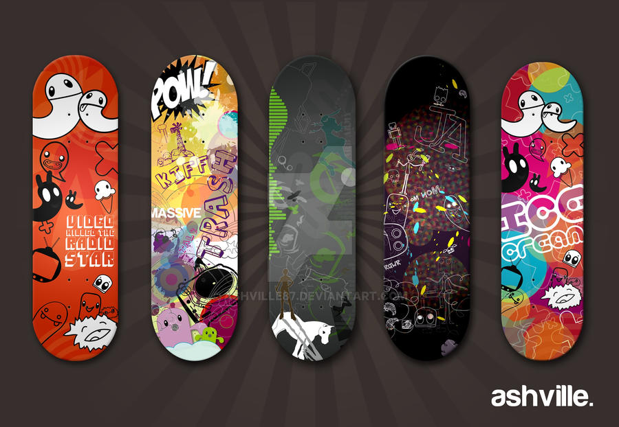 Skateboard designs by ashville87