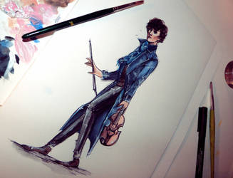 The Violinist - young Sherlock by Farbenfrei