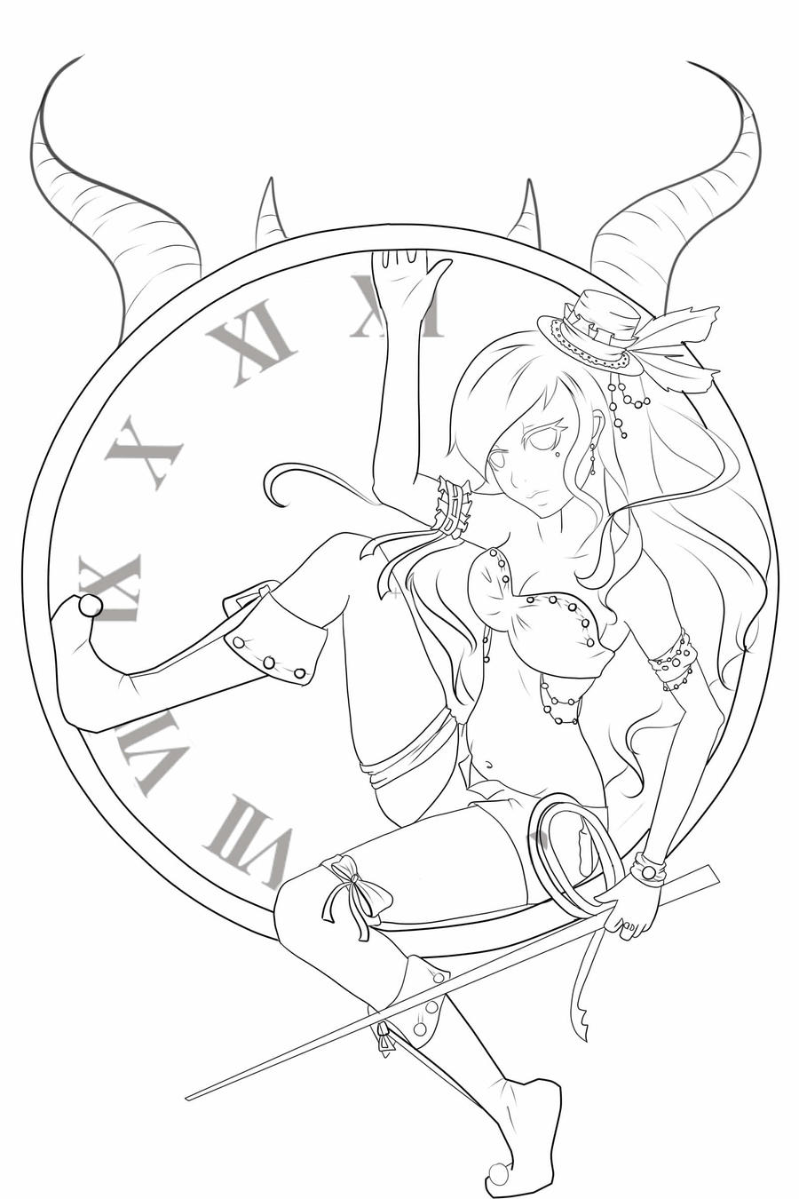 Line Drawing Clock : The devil in clock line art by ochanotsuki on deviantart