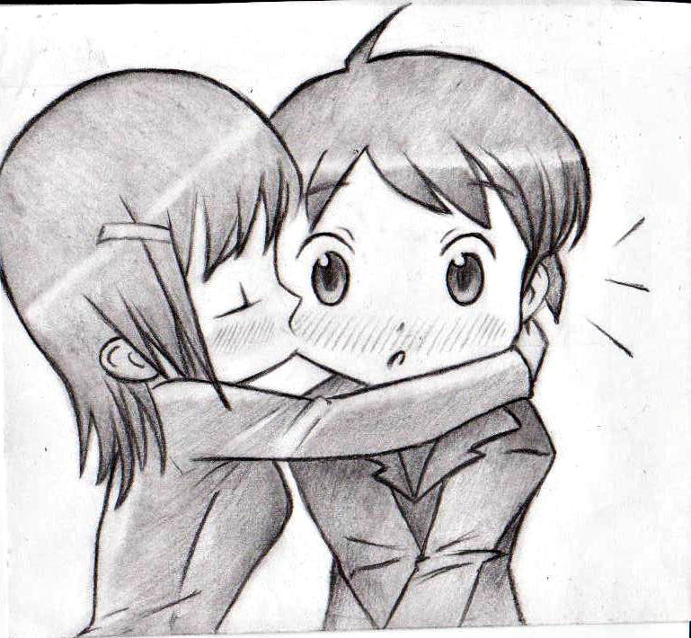 Anime Characters Kissing Drawing : Chibi kissing by manoliff on deviantart