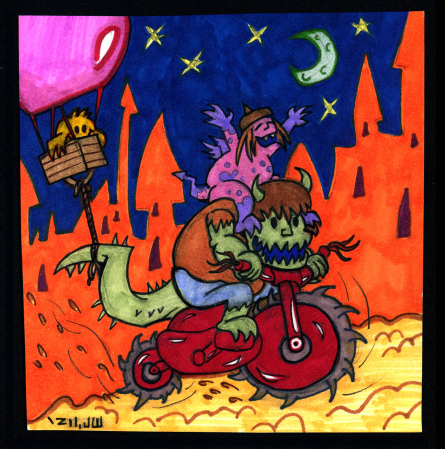 Midnight Mischief-Making Monsters on a Motorcycle!