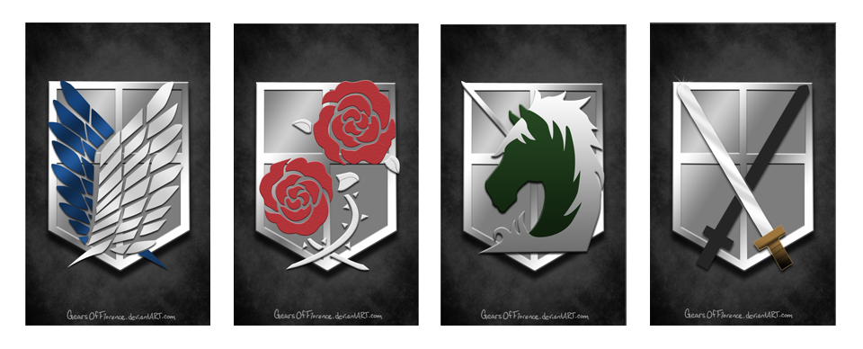 Shingeki no Kyojin emblem badges by GearsOfFlorence on DeviantArt: gearsofflorence.deviantart.com/art/Shingeki-no-Kyojin-emblem-badges...
