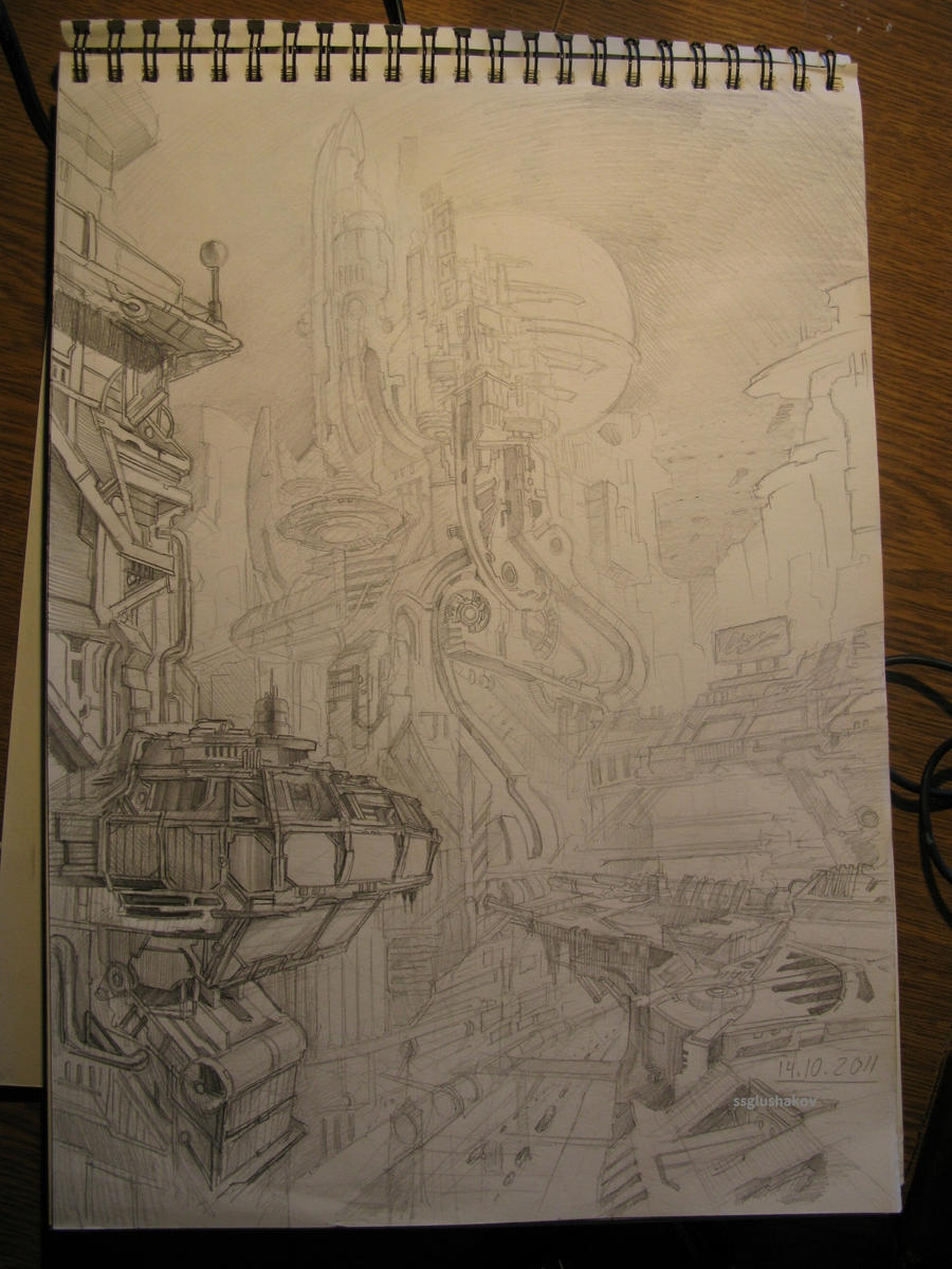 Sci-fi city view in pencil by SSGlushakov