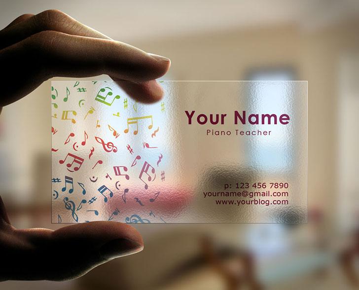 Transparent Business Cards Idea For Musicians