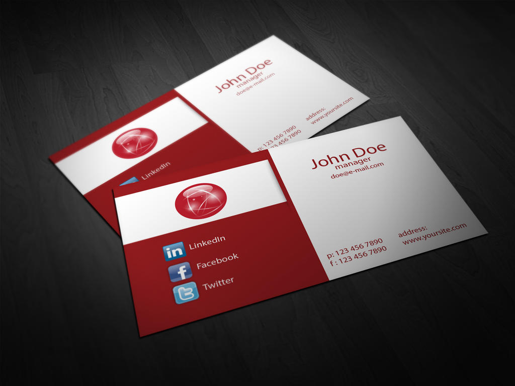 Free Red Corporate Business Card Template Vol 01 by