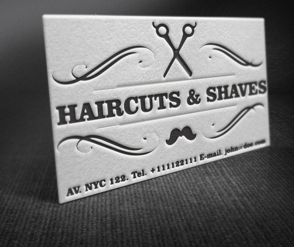Letterpress Barber Shop Business Cards by BorceMarkoski