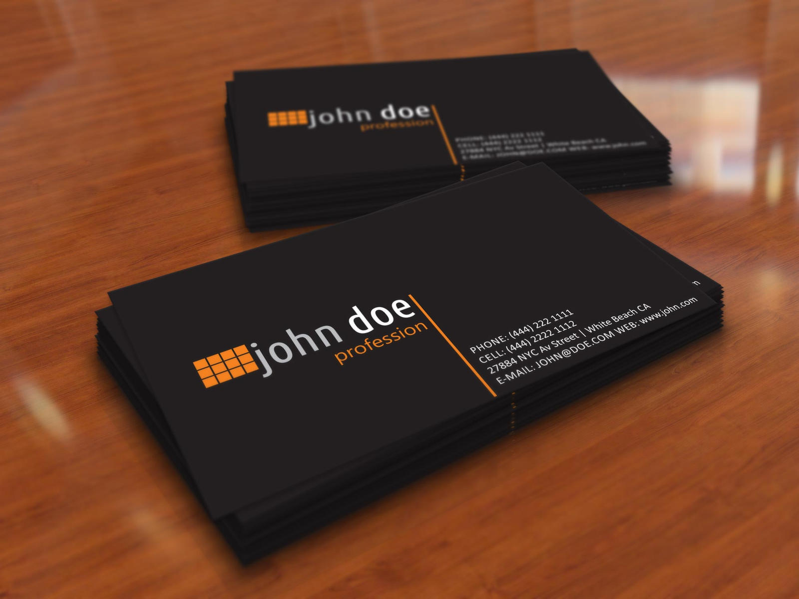 simple black personal business card template by
