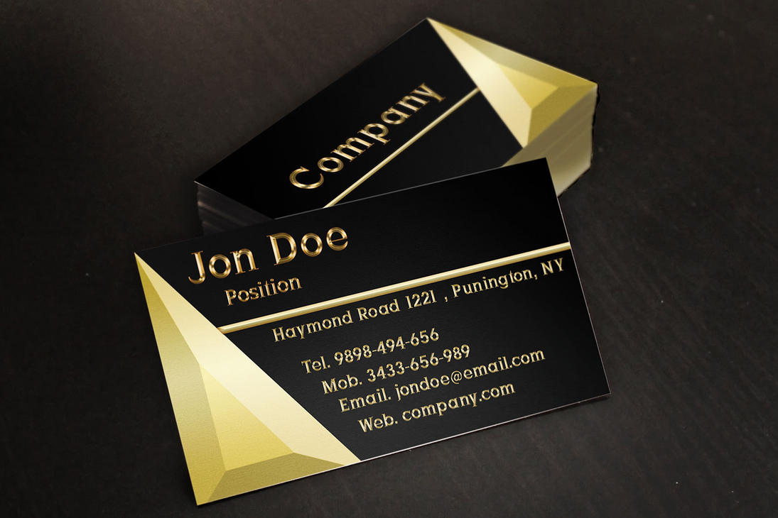 Black and Gold Jewelry Business Cards Template by