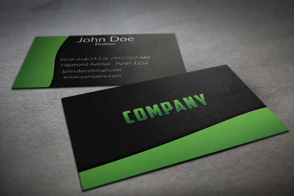 Textured Black And Green Business Card Template By BorceMarkoski