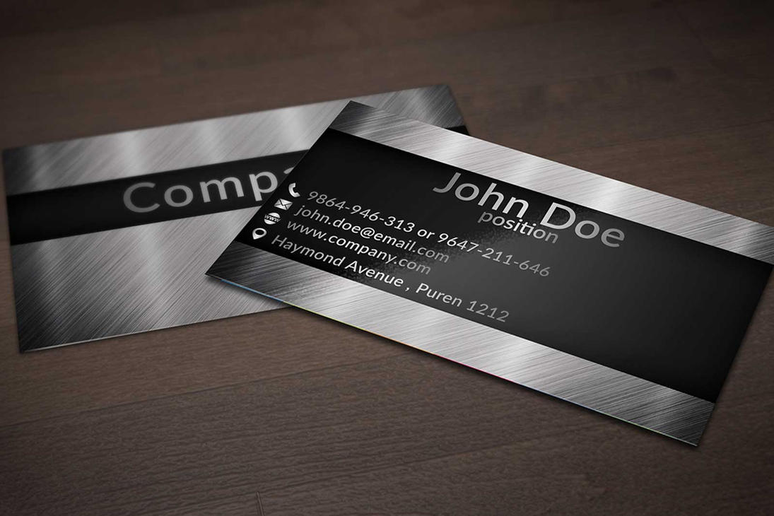Creative Business Card Design On Brushed Metal Bac By