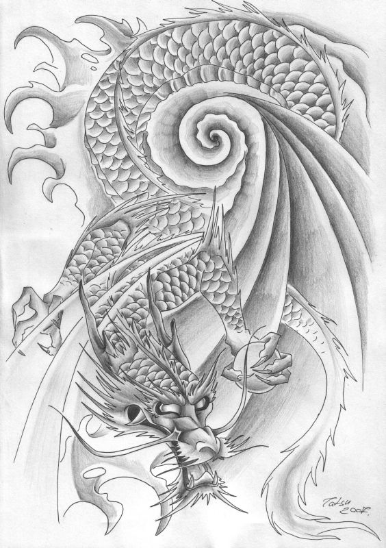 New Dragon Body tattoo art design black or white