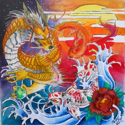 Dragon and Koi