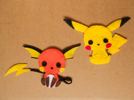 Pikachu and Raichu pins by chococat830