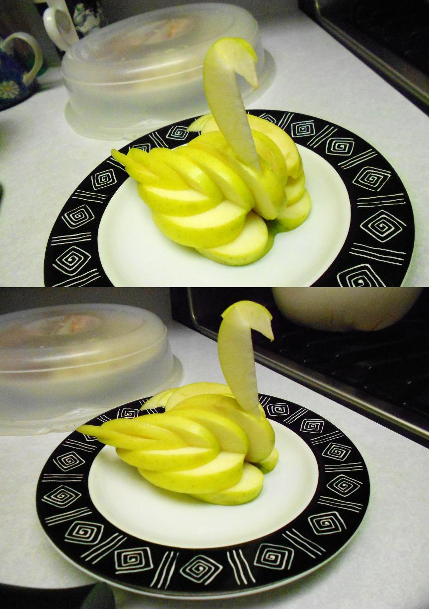 carving: apple swan attempt lol by chococat830