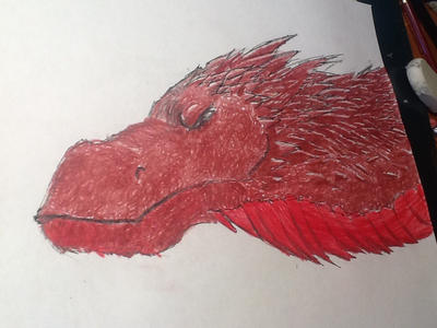 Finished Smaug head (request for alexbee1236) by Doodlingmonster