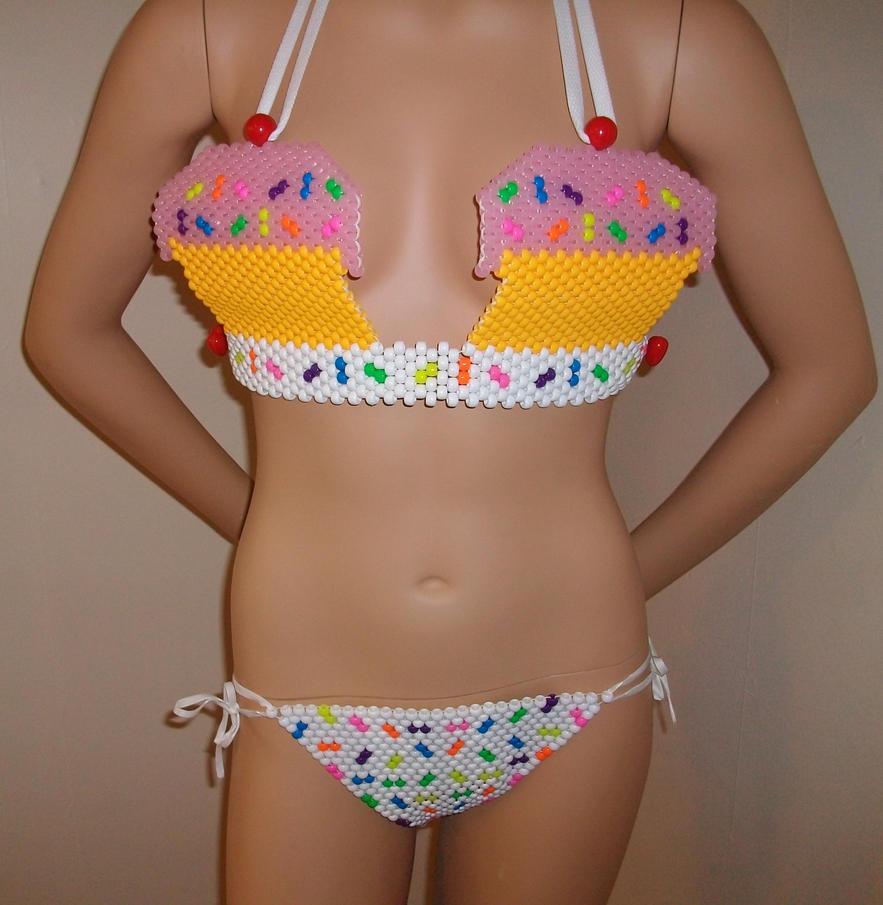 beaded rainbow cupcake kandi bikini with sprinkles by