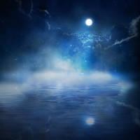 night stars moon by inkmlab
