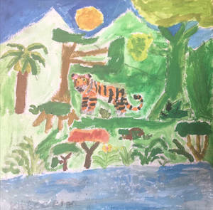 The Tiger stood near riverside