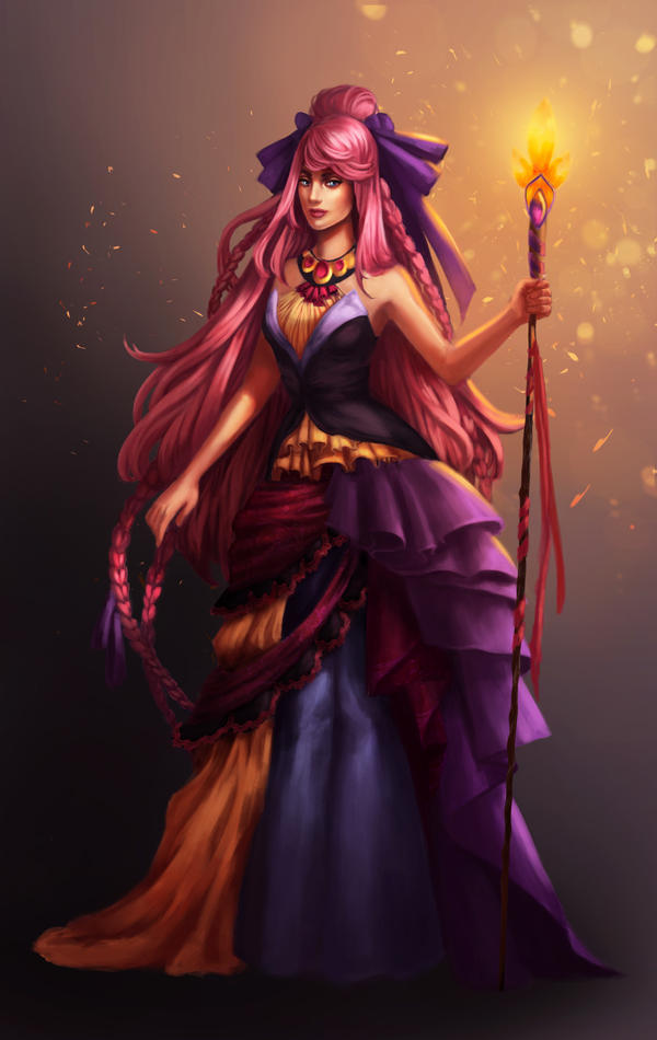 Pink haired sorceress by RainaRedwood