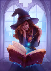 Hermione reading by andrada-art