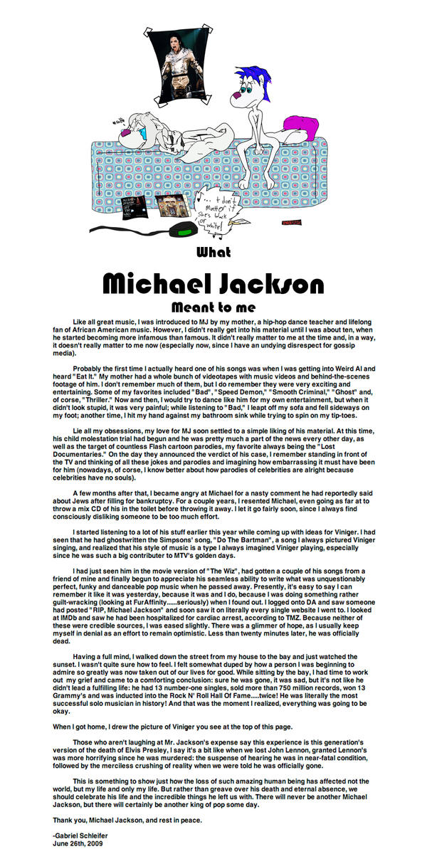 Michael jackson tribute essay