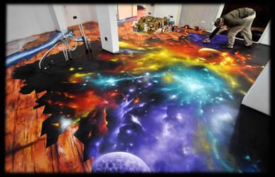 Graffiti Decoration Space floor marbelized by Graffiti-decoration