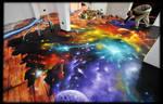 Graffiti Decoration Space floor marbelized