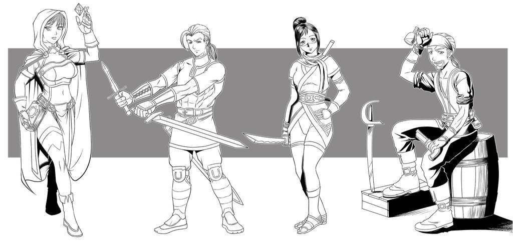 Line art characters by Djota