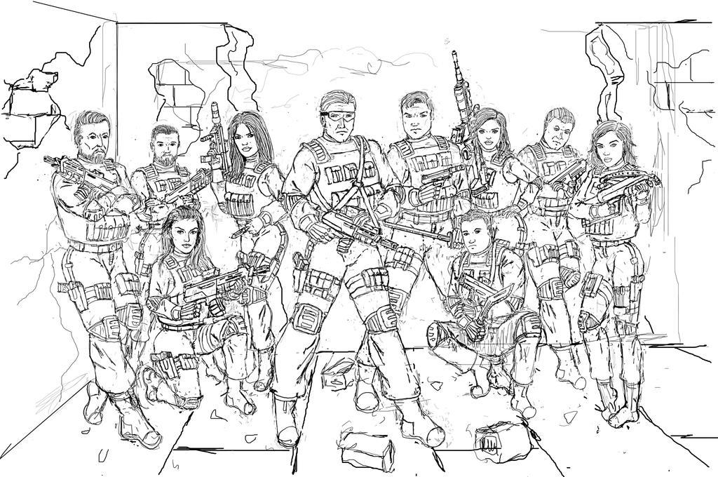 Team Alpha: Team Photo Line Art by Andared