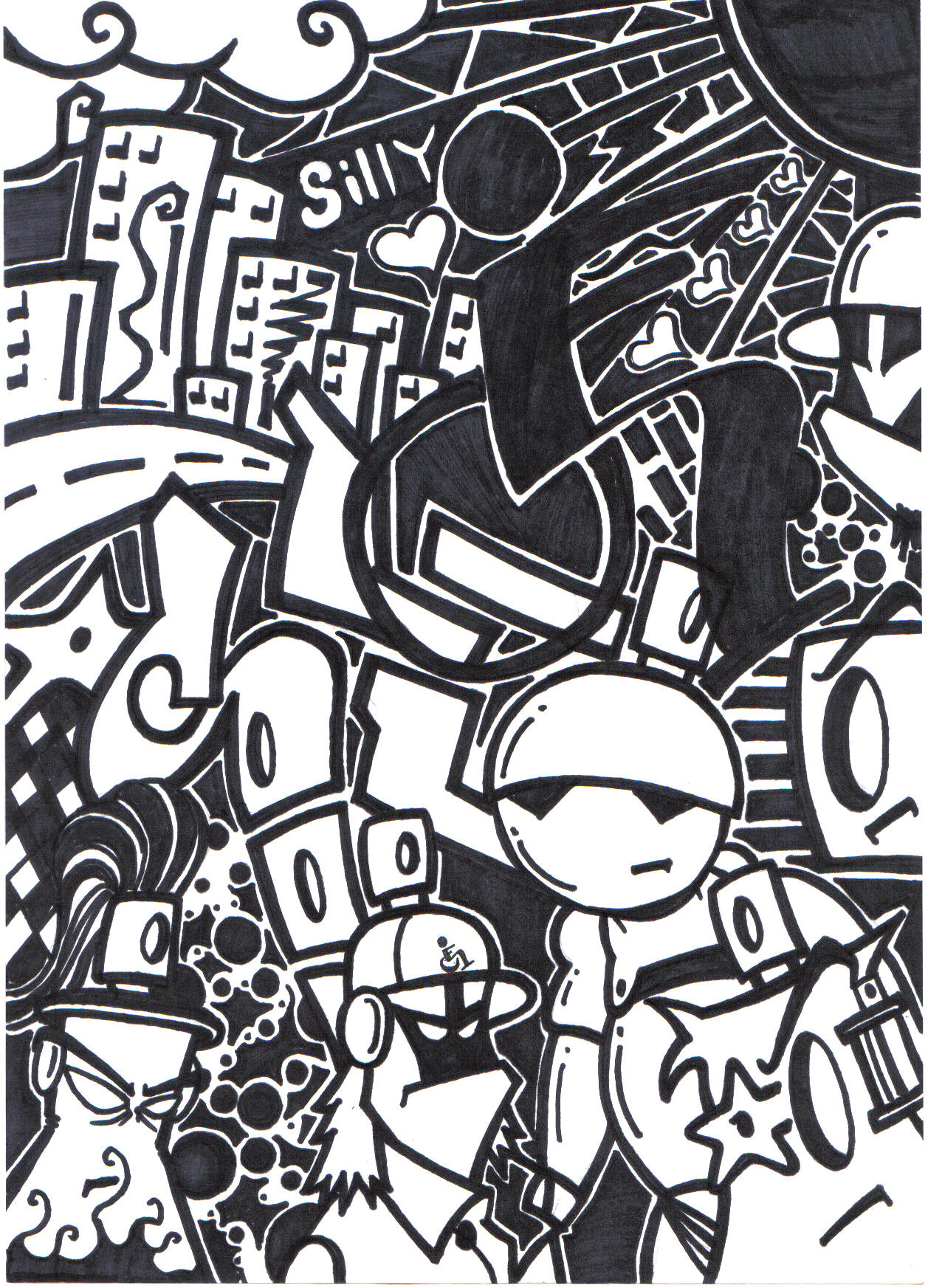 black n white mural on paper by silifulz on deviantart. Black Bedroom Furniture Sets. Home Design Ideas