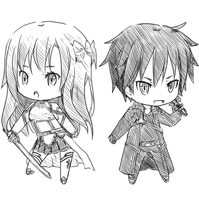 Asuna And Kirito Sketch By Craytm On Deviantart