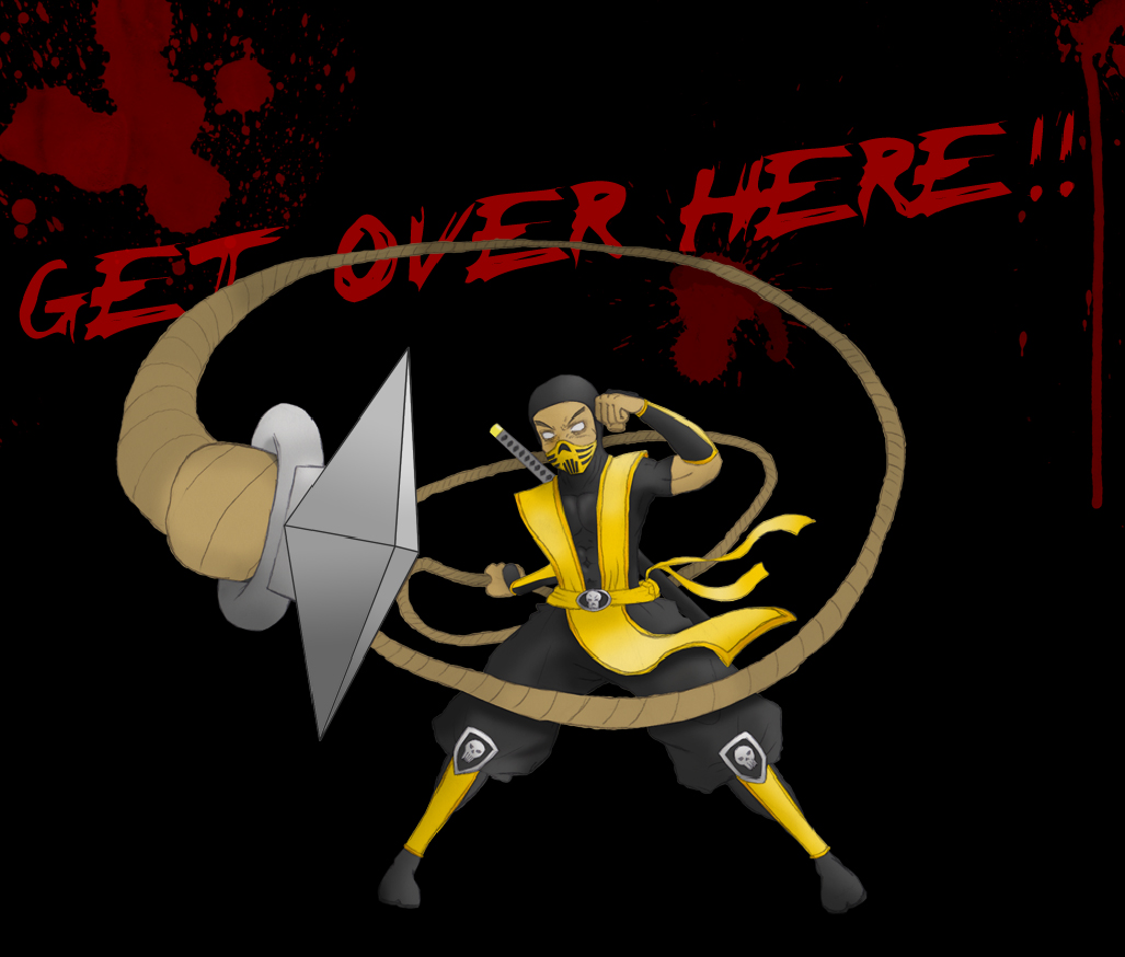 Scorpion mortal kombat get over here gif