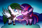 Twilight Sparkle and Loyal Wing- Commission by Saphinel