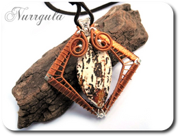 Tribal copper and silver pendant with etched Agate by nurrgula