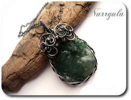 Moss Agate in Silver - pendant by nurrgula