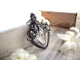 Elvish Silver Necklace with Cubic Zirconia by nurrgula