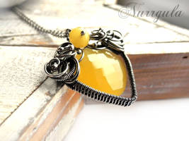 Yellow Chalcedony wire wrapped silver necklace by nurrgula