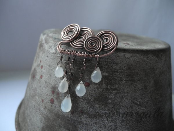 Rain cloud copper Moonstone brooch by nurrgula